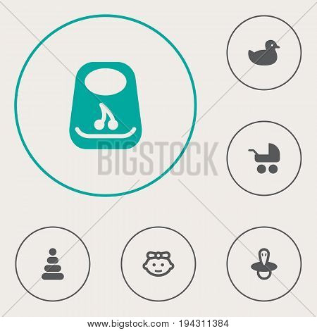 Set Of 6 Baby Icons Set.Collection Of Toy, Duck, Breastplate And Other Elements.
