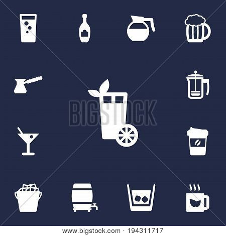 Set Of 13 Beverages Icons Set.Collection Of Fridge, Mug, Green Tea And Other Elements.