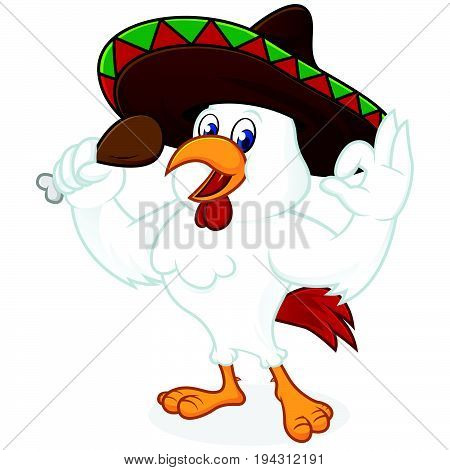 Chicken Cartoon Wearing Sombrero And Holding Fried Chicken