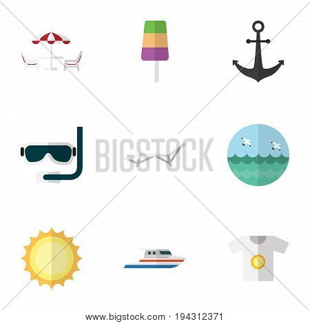 Flat Icon Beach Set Of Recliner, Clothes, Ocean And Other Vector Objects. Also Includes Beach, Recliner, Sunshine Elements.