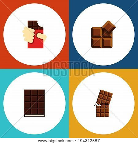 Flat Icon Bitter Set Of Wrapper, Cocoa, Shaped Box And Other Vector Objects. Also Includes Dessert, Delicious, Wrapper Elements.