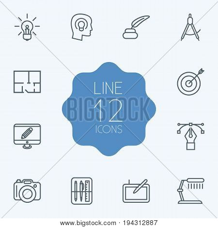 Set Of 12 Constructive Outline Icons Set.Collection Of Target, Inkwell With Pen, Idea And Other Elements.