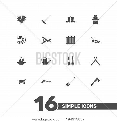 Set Of 16 Horticulture Icons Set.Collection Of Rake, Fence, Hacksaw And Other Elements.