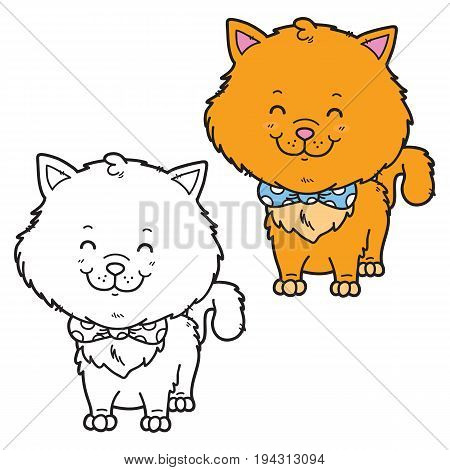 Vector illustration coloring page of happy cartoon cat for children, coloring and scrap book