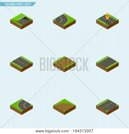 Isometric Road Set Of Navigation, Unilateral, Single-Lane And Other Vector Objects. Also Includes Footpath, Underground, Road Elements.