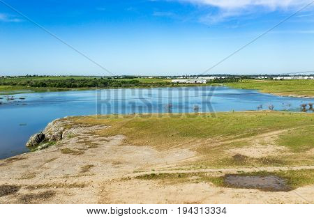 A lake in the steppes of Kazakhstan in the spring .