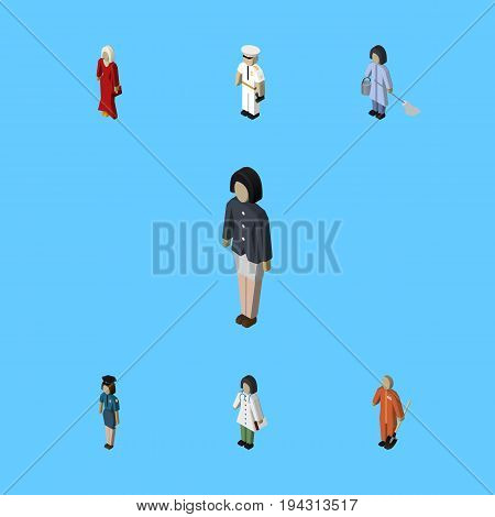 Isometric People Set Of Housemaid, Cleaner, Policewoman And Other Vector Objects. Also Includes Woman, Female, Policewoman Elements.