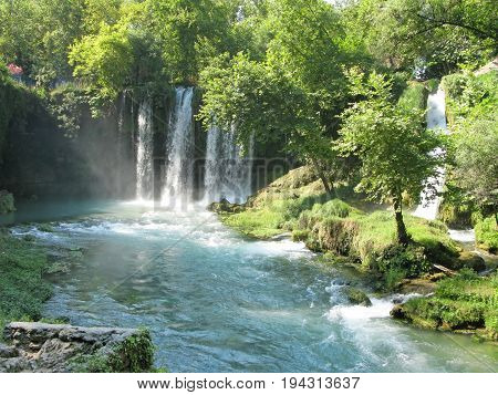 waterfall falling view out of grotte duden antalya turkey