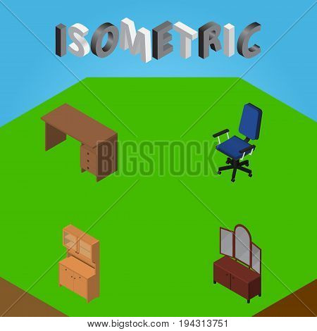 Isometric Design Set Of Table, Office, Cupboard And Other Vector Objects. Also Includes Cupboard, Office, Desk Elements.