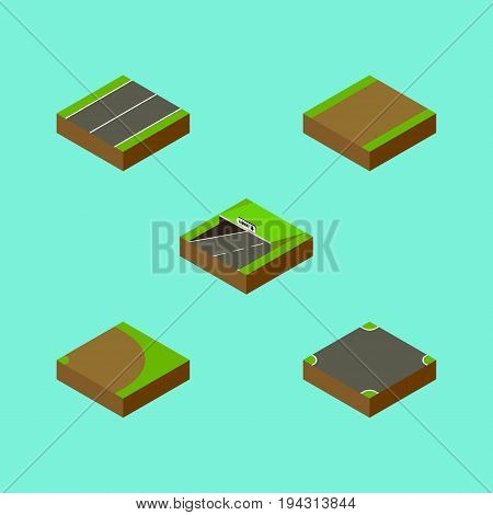 Isometric Way Set Of Rotation, Footpath, Plane And Other Vector Objects. Also Includes Underground, Crossroad, Road Elements.