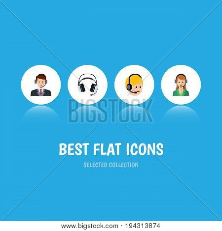 Flat Icon Call Set Of Earphone, Hotline, Call Center And Other Vector Objects. Also Includes Center, Call, Hotline Elements.