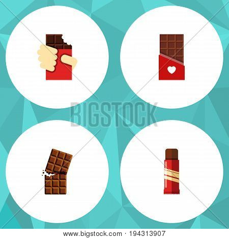 Flat Icon Cacao Set Of Chocolate, Shaped Box, Wrapper And Other Vector Objects. Also Includes Shaped, Confection, Dessert Elements.