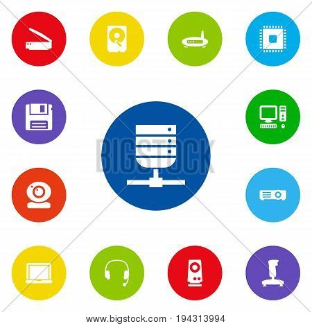 Set Of 13 Notebook Icons Set.Collection Of Datacenter, Show, Amplifier And Other Elements.