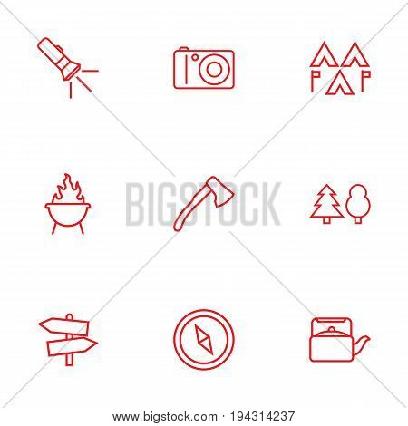 Set Of 9 Outdoor Outline Icons Set.Collection Of Encampment, Grill, Teapot And Other Elements.