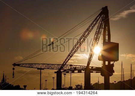 Scotch Derrick crane in Waterford. Evening shot 2017