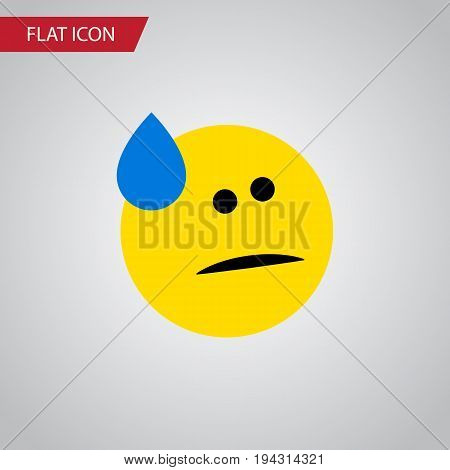 Isolated Cold Sweat Flat Icon. Tears Vector Element Can Be Used For Tears, Sad, Emoji Design Concept.