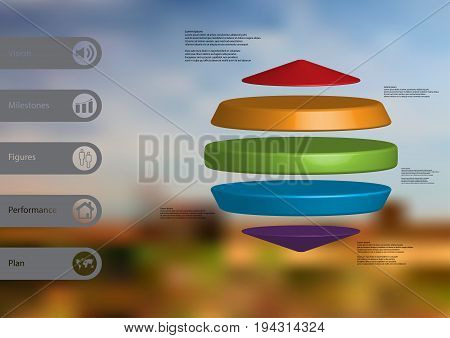 3D illustration infographic template with motif of three cylinders between two cones horizontally arranged with simple sign and sample text on side in bars. Blurred photo is used as background.