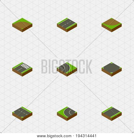 Isometric Way Set Of Sand, Downward, Turn Vector Objects. Also Includes Intersection, Strip, Crossroad Elements.