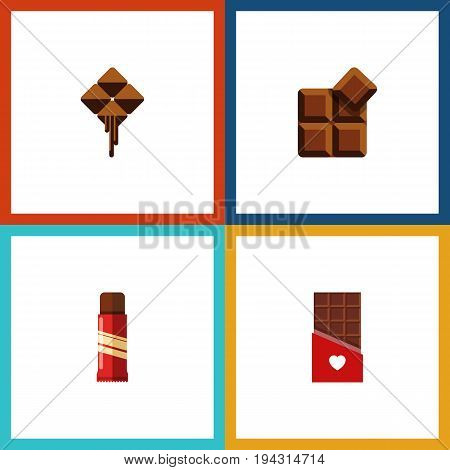 Flat Icon Sweet Set Of Sweet, Chocolate, Delicious And Other Vector Objects. Also Includes Confection, Bitter, Shaped Elements.