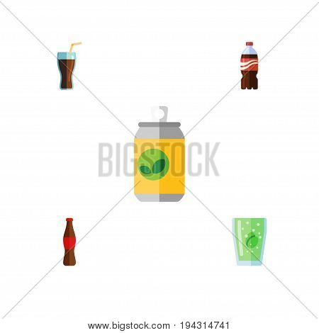 Flat Icon Drink Set Of Beverage, Bottle, Cola And Other Vector Objects. Also Includes Bottle, Fizzy, Cola Elements.