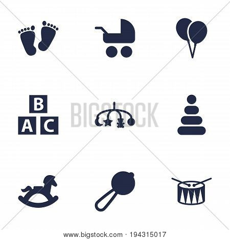 Set Of 9 Child Icons Set.Collection Of Barrel, Abc Block, Decoration And Other Elements.