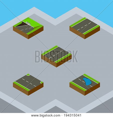 Isometric Road Set Of Plash, Rightward, Subway And Other Vector Objects. Also Includes Lane, Underground, Subway Elements.