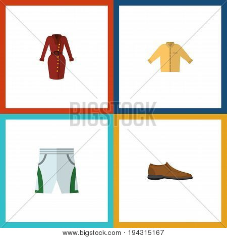 Flat Icon Garment Set Of Male Footware, Banyan, Trunks Cloth And Other Vector Objects. Also Includes Dress, Man, Shoe Elements.