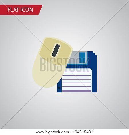 Isolated Floppy Disk Flat Icon. Computer Mouse Vector Element Can Be Used For Floppy, Mouse, Computer Design Concept.