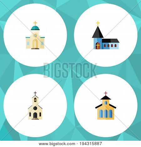 Flat Icon Church Set Of Building, Religious, Catholic And Other Vector Objects. Also Includes Church, Religious, Christian Elements.