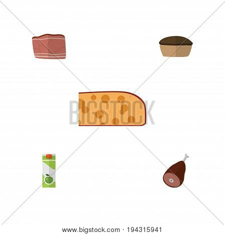 Flat Icon Food Set Of Meat, Tart, Cheddar Slice And Other Vector Objects. Also Includes Meat, Holland, Packet Elements.