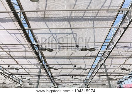 Greenhouse Interior With Lamps Under Glass Roof