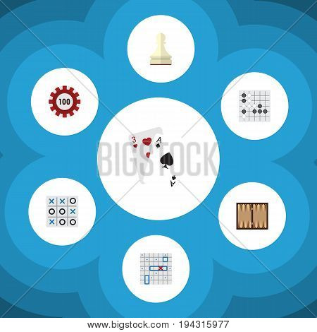 Flat Icon Play Set Of Ace, Sea Fight, Poker And Other Vector Objects. Also Includes Alphago, Gomoku, Cards Elements.