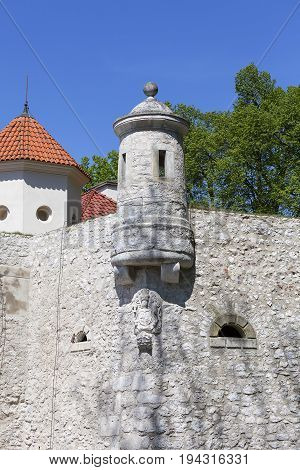 14th century defense Castle Pieskowa Skala defensive wall near Krakow Poland. Located in Ojcowski National Park is one of the best-known examples of a defensive Polish Renaissance architecture