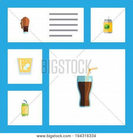 Flat Icon Beverage Set Of Drink, Lemonade, Beverage And Other Vector Objects. Also Includes Lemonade, Cup, Drink Elements.