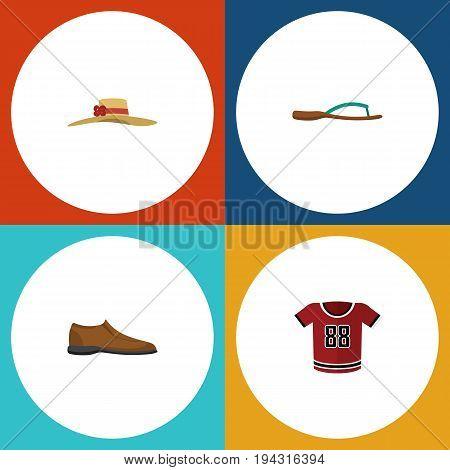 Flat Icon Clothes Set Of Beach Sandal, T-Shirt, Elegant Headgear Vector Objects. Also Includes Uniform, Footware, Man Elements.