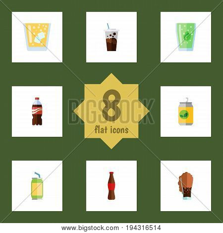 Flat Icon Beverage Set Of Carbonated, Soda, Bottle And Other Vector Objects. Also Includes Cup, Juice, Fizzy Elements.