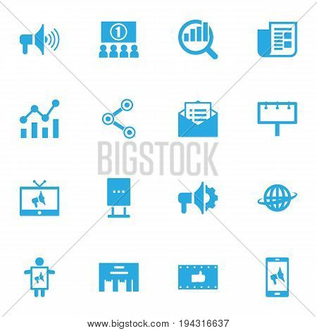 Set Of 16 Commercial Icons Set.Collection Of Auditorium, Journal, Market And Other Elements.