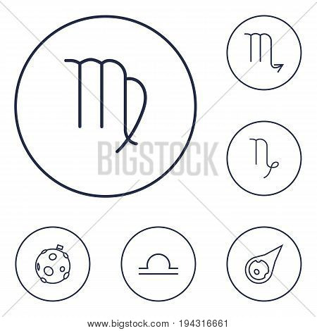 Set Of 6 Astronomy Outline Icons Set.Collection Of Asteroid, Capricorn, Scorpion And Other Elements.