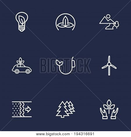 Set Of 9 Atmosphere Outline Icons Set.Collection Of Nature, Afforestation, Eco And Other Elements.