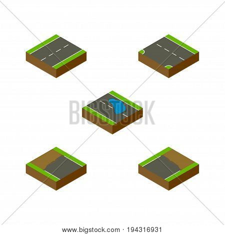 Isometric Way Set Of Incomplete, Driveway, Plash And Other Vector Objects. Also Includes Single, Down, Lane Elements.