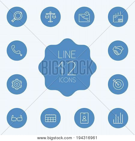 Set Of 12 Trade Outline Icons Set.Collection Of Magnifier, Mail, Gear And Other Elements.
