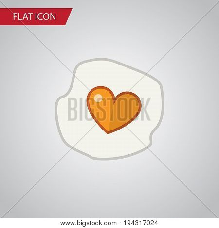 Isolated Fried Egg Flat Icon. Scrambled Vector Element Can Be Used For Heart, Egg, Scrambled Design Concept.