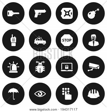 Set Of 16 Procuring Icons Set.Collection Of Sign, Strongbox, Hardhat And Other Elements.