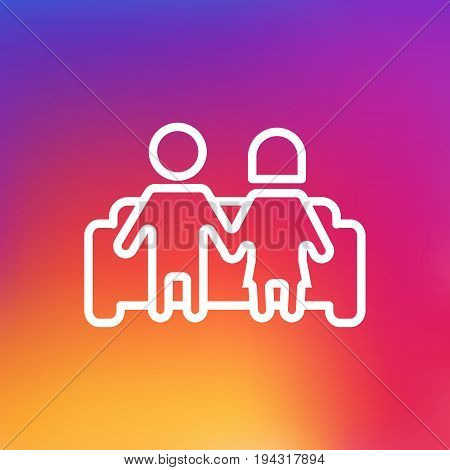 Isolated Married Outline Symbol On Clean Background. Vector Couple Element In Trendy Style.