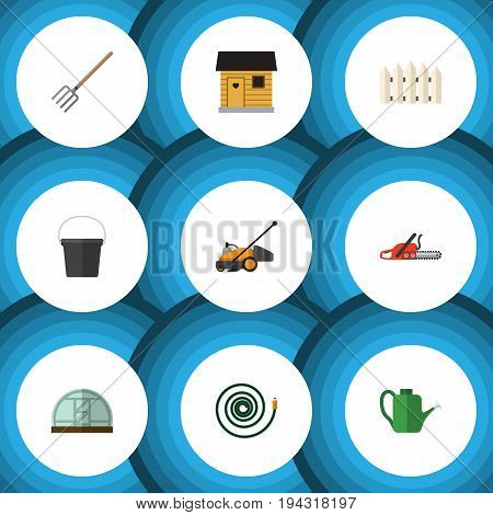 Flat Icon Dacha Set Of Wooden Barrier, Hay Fork, Stabling And Other Vector Objects. Also Includes Barrier, Hosepipe, Hothouse Elements.