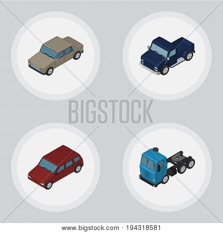 Isometric Automobile Set Of Car, Auto, Suv And Other Vector Objects. Also Includes Lorry, Suv, Auto Elements.
