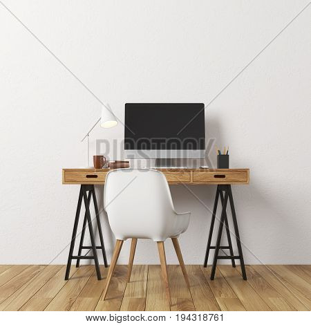 Empty room interior with white walls and a light wooden floor. There is a wooden computer desk and a white chair. Concept of a new and comfortable lodging. 3d rendering mock up