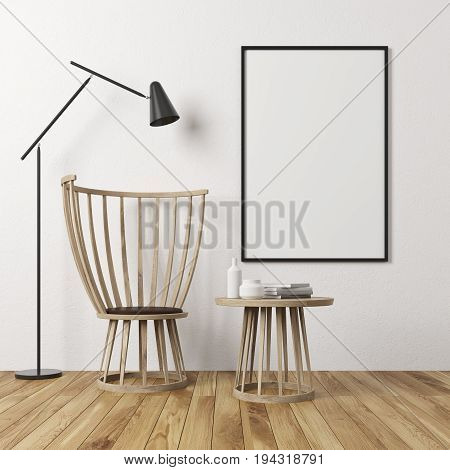 White Wall Room, Armchair And Poster