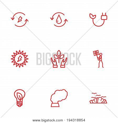 Set Of 9 Bio Outline Icons Set.Collection Of Charge, Water, Ecologist And Other Elements.