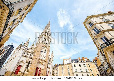 View from below on the saint Nicolas church in Nantes city in France